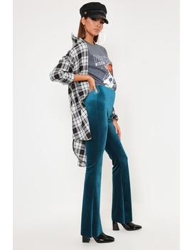 Turq Velvet Flare Trousers by I Saw It First