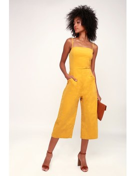 Revere Mustard Yellow Corduroy Cropped Jumpsuit by Lulus