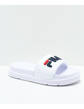 Fila Drifter Bold White, Navy And Red Slide Sandals by Fila
