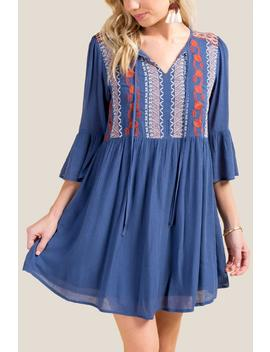 Aniyah Embroidered Shift Dress by Francesca's