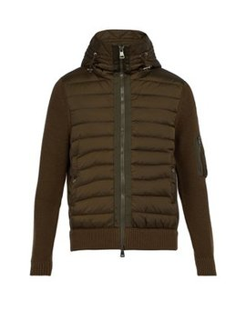 Hooded Wool Blend Knit And Quilted Down Jacket by Moncler