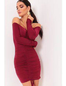 Burgundy Ruched Bardot Mini Dress by I Saw It First