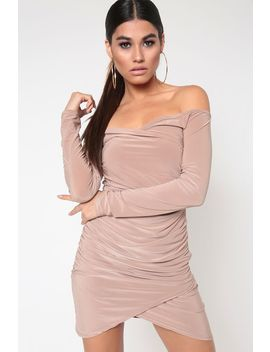 Mocha Off The Shoulder Ruched Dress by I Saw It First