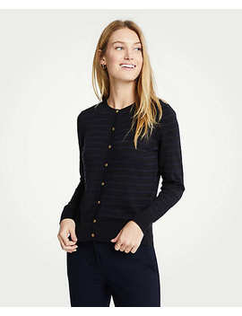 Stripe Gilded Button Ann Cardigan by Ann Taylor