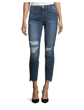 Le High Skinny Jeans With Raw Hem by Frame