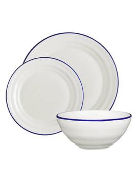 John Lewis & Partners Harbour Blue Rim Dinnerware Set, White/Blue, 12 Pieces by John Lewis & Partners