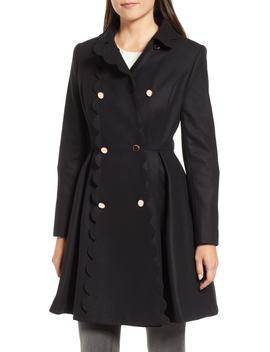 Scallop Trim Wool Blend Coat by Ted Baker London