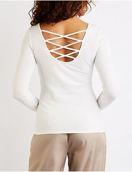 Caged Back Scoop Neck Top by Charlotte Russe