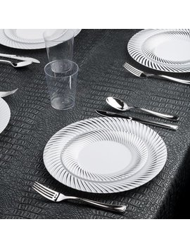 Kaya Collection   Swirl Silver Disposable Plastic Dinnerware Party Package   60 Person Package   Includes Dinner Plates, Salad/Dessert Plates, Silver Cutlery And Tumblers by Kaya Collection
