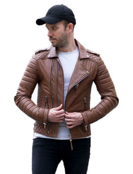 Men's Leather Jacket Real Lambskin Biker Jacket Motorcycle Slim Fit Brown Coat by Zayn Leather
