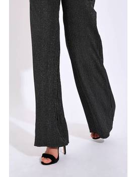 Black/Silver Glitter Striped Trouser by I Saw It First