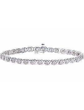 Naava Women's 1 Ct Diamond Prong Setting 9 Ct White Gold Bracelet by Naava