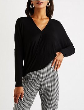 Faux Wrap High Low Top by Charlotte Russe