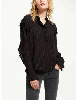 And/Or Emma Metallic Stripe Blouse, Black/Silver by And/Or