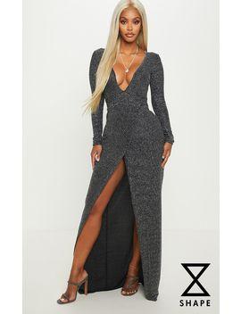 Shape Silver Plunge Striped Glitter Maxi Dress by Prettylittlething