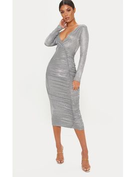 Silver Glitter Plunge Ruched Midi Dress by Prettylittlething