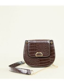 Dark Brown Faux Croc Saddle Bag by New Look