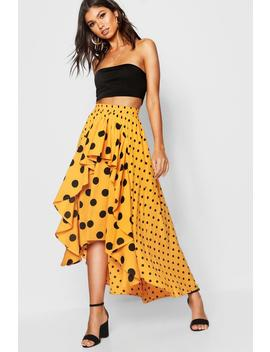 Mixed Polka Dot Ruffle Midi Skirt by Boohoo