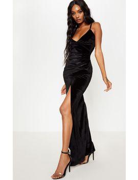 Black Velvet Wrap Strappy Maxi Dress by Prettylittlething