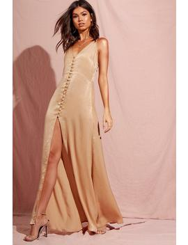 Hammered Satin Button Through Maxi Dress by Boohoo
