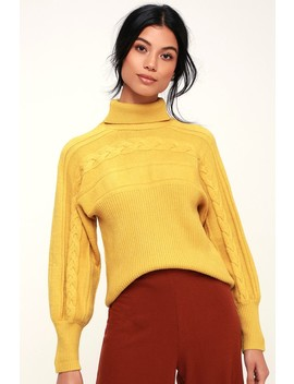 Archer Mustard Yellow Cable Knit Turtleneck Sweater by J.O.A.