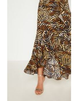 Black Tiger Print Frill Detail Wrap Maxi Dress by Prettylittlething