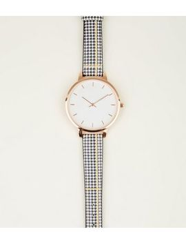 Monochrome Check Strap Watch by New Look