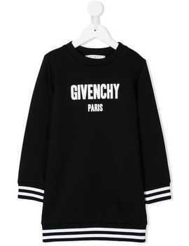 Stripe Trim Logo Sweatshirt Dress by Givenchy Kids
