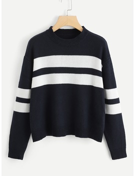 Two Tone Drop Shoulder Sweater by Shein