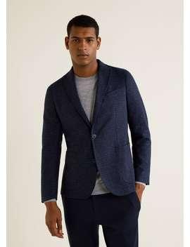 Slim Fit Micro Check Wool Blend Blazer by Mango