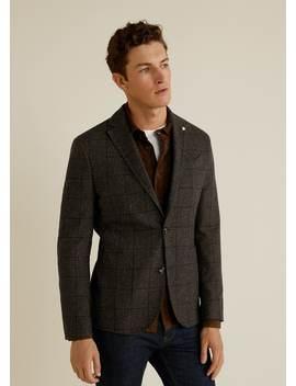 Slim Fit Flecked Wool Blazer by Mango