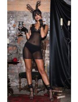 Black Strappy Plunge Mesh Bodycon Dress  by Prettylittlething