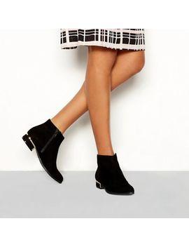 Principles   Black Suedette 'celia' Block Heel Ankle Boot by Principles
