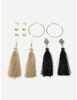Heart & Tassel Design Earrings 6pairs by Sheinside