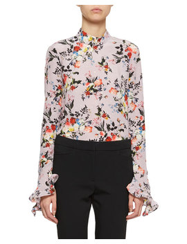 Lindsey Bell Sleeve High Neck Floral Blouse by Erdem