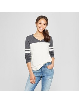 Women's Long Sleeve V Neck Baseball T Shirt   Grayson Threads (Juniors') Charcoal by Grayson Threads