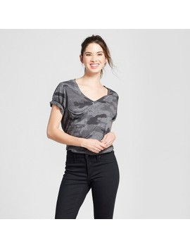 Women's Camo Print Short Sleeve Burnout Wash Pocket T Shirt   Grayson Threads (Juniors') Gray by Grayson Threads