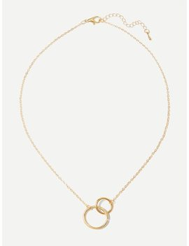 Double Circle Pendant Chain Necklace by Sheinside