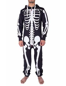 Mens Unisex Halloween Skeleton All In One Onesie Jumpsuit by Noroze