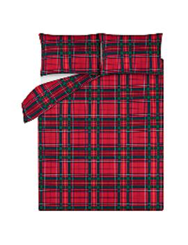 Red Tartan Soft & Cosy Brushed Cotton Duvet Set by Asda