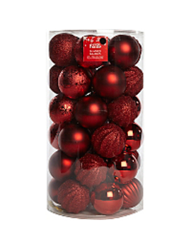 36 Pack Mixed Red Baubles by Asda