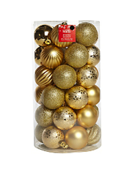 36 Pack Mixed Gold Baubles by Asda