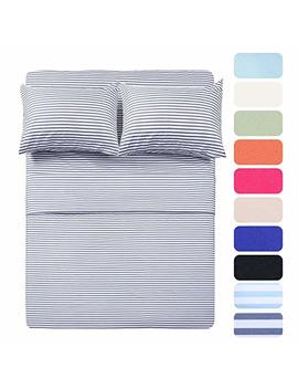Homelike Collection 4 Piece Bed Sheet Set With 2 Pillow Cases, Pink Pinstripe/Classic Pattern Sheets   Twin,Deep Pocket,Great Value, Ultra Soft & Breathable,Wrinkle Free Hypoallergenic Bedding by Homelike Collection