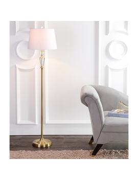 "Harper 61"" Crystal / Metal Led Floor Lamp, Brass Gold/Clear by Jonathan Y"