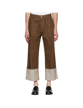 Brown Patch Pocket Trousers by Loewe