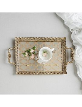 G Home Collection Carving Frame Floral Pattern Mirrored Brass Tea Or Vanity Tray by Generic