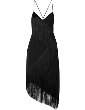 Asymmetric Fringed Wool Crepe Wrap Effect Midi Dress by Givenchy