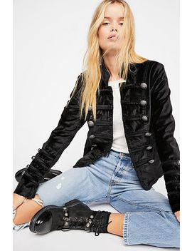 Fitted Velvet Military Jacket by Free People