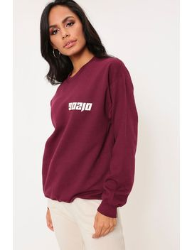 Maroon Beverly Hills Printed Sleeve Oversized Sweater by I Saw It First