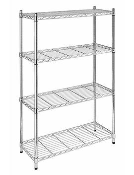 Whitmor Supreme 4 Tier Shelving With Adjustable Shelves And Leveling Feet   Chrome by Whitmor
